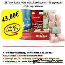 288 condones fresa mas 2 lubricantes y 10 esponjas regla
